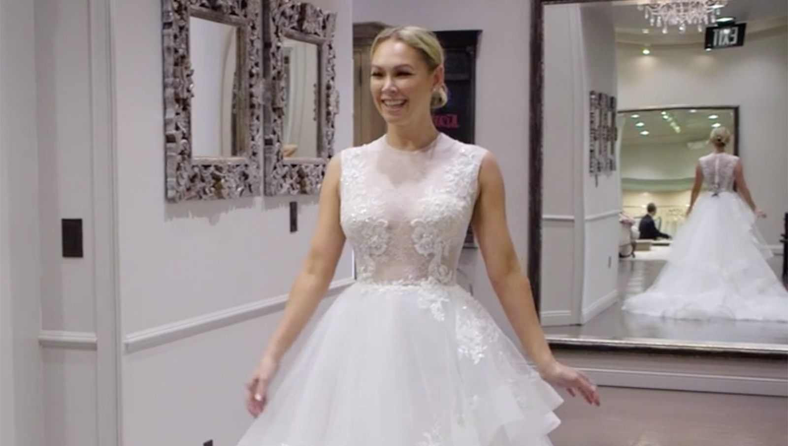 39 dwts 39 star kym johnson goes wedding gown shopping with a for Shark tank wedding dress