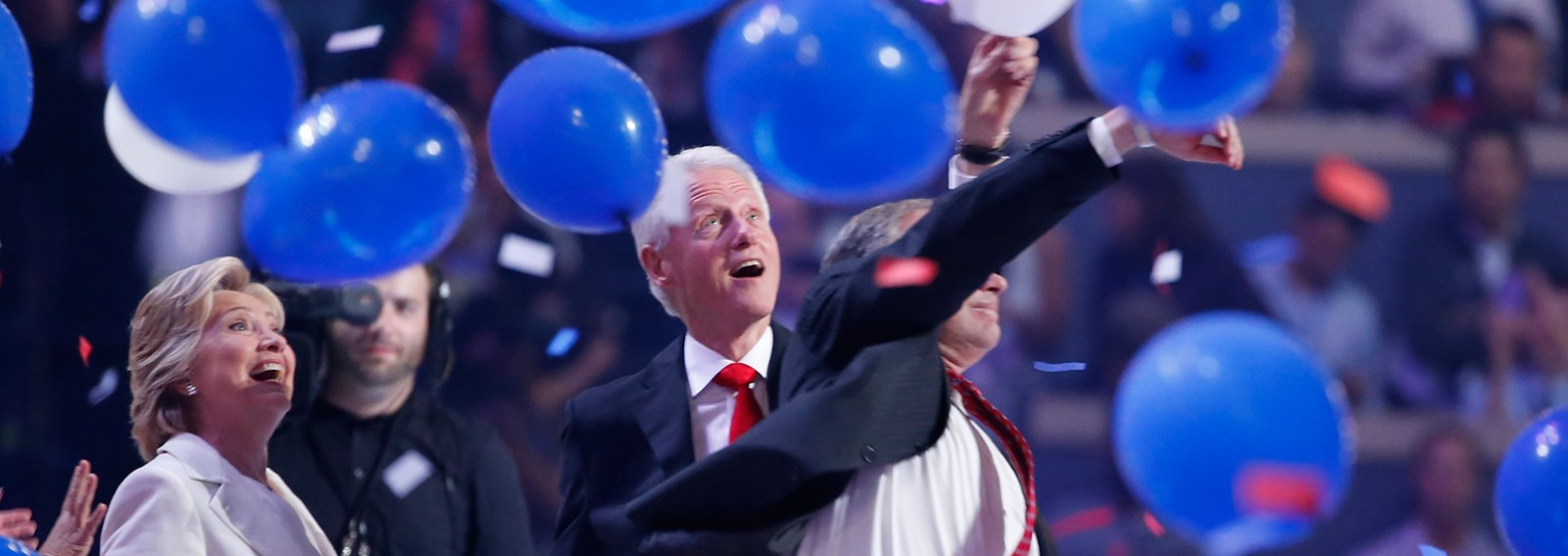 Hillary Clinton comments on her husband's viral reaction to DNC balloon drop