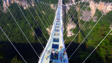 World's tallest glass bridge opens -- and it looks terrifying