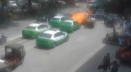Car's gas tank explodes in China