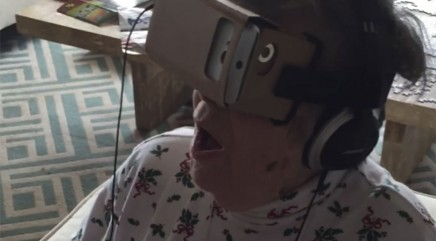 Grandma goes bonkers over virtual reality headset