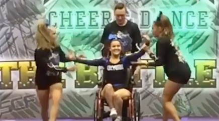 Wheelchair-bound cheerleader wows with prize-winning routine