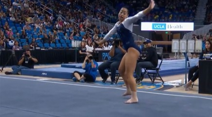 Gymnast stuns crowd with incredible dance routine