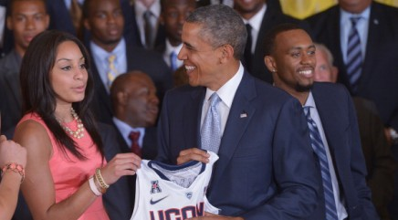 UConn basketball player tumbles at White House