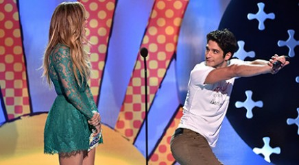 Tyler Posey does a little dance for J.Lo