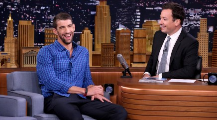 Michael Phelps gets an unusual gift from Jimmy Fallon