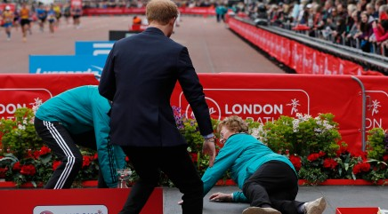 Prince Harry comes to the rescue after 86-year-old Olympian takes a spill