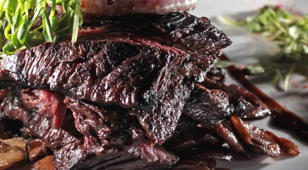 Sizzling skirt steak with chimichurri sauce