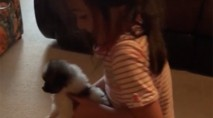 Young girl makes endearing mistake when surprised with tiny dog